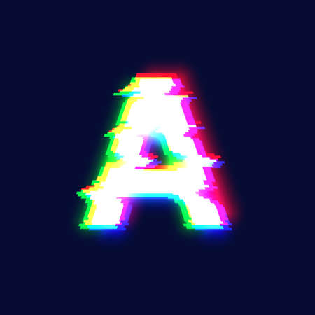 Realistic glitch font character 'A', vector illustration