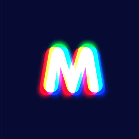 Realistic chromatic aberration character 'M' from a font, vector illustration  イラスト・ベクター素材