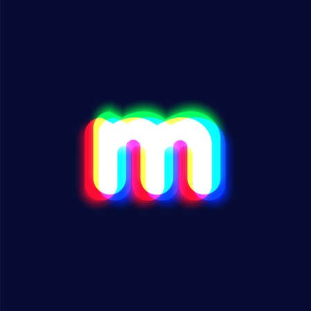 Realistic chromatic aberration character 'm' from a fontset, vector illustration  イラスト・ベクター素材