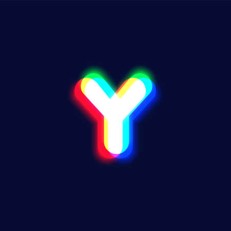 Realistic chromatic aberration character 'Y' from a font, vector illustration