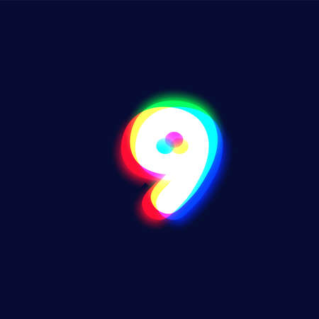 Realistic chromatic aberration character '9' from a font, vector illustration