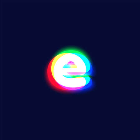 Realistic chromatic aberration character 'e' from a fontset, vector illustration