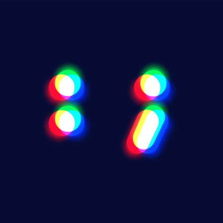 Realistic chromatic aberration character 'colon / semicolon' from a font, vector illustration