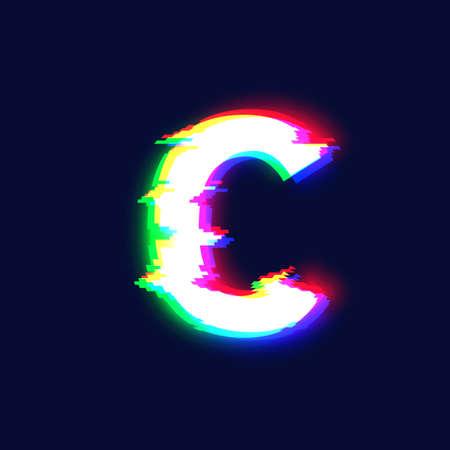 Realistic glitch font character 'C', vector illustration