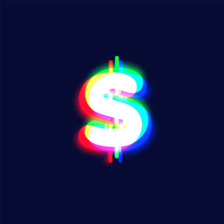 Realistic chromatic aberration character 'dollar' from a font, vector illustration