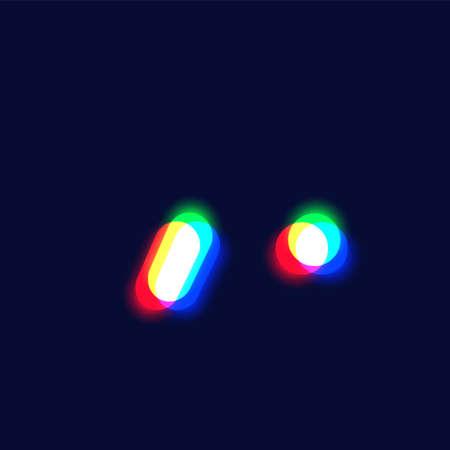 Realistic chromatic aberration character 'apostrophe / full stop' from a fontset, vector illustration Ilustração
