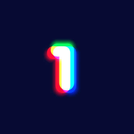 Realistic chromatic aberration character '1' from a font, vector illustration