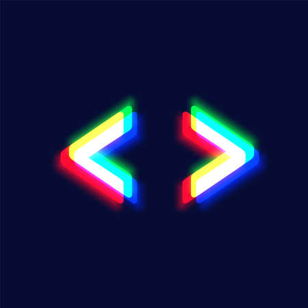 Realistic chromatic aberration character 'arrow' from a fontset, vector illustration  イラスト・ベクター素材