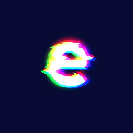 Realistic glitch font character 'e', vector illustration  イラスト・ベクター素材