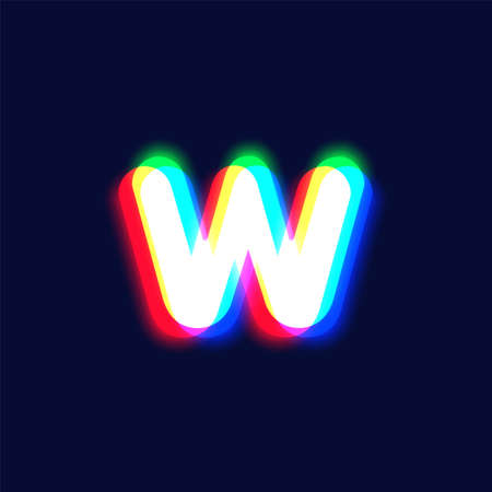 Realistic chromatic aberration character 'W' from a font, vector illustration