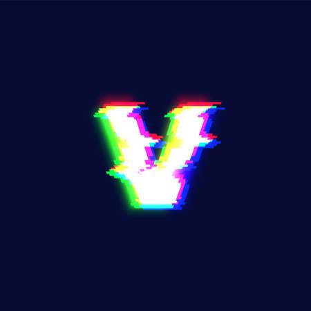 Realistic glitch font character 'v', vector illustration  イラスト・ベクター素材