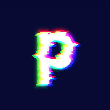 Realistic glitch font character 'equal sign' vector illustration  イラスト・ベクター素材