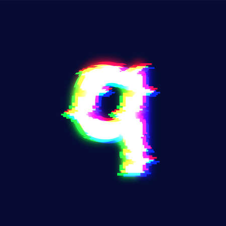 Realistic glitch font character '5' vector illustration