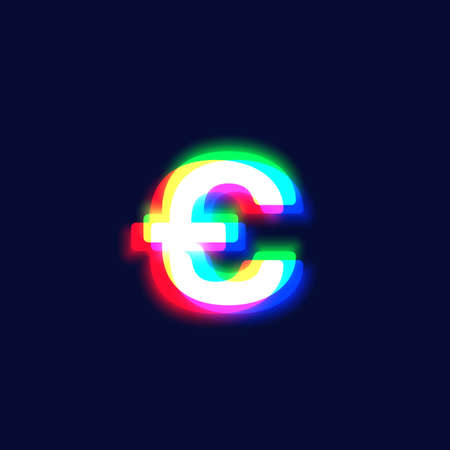 Realistic chromatic aberration character 'p' from a font, vector illustration