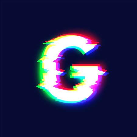 Realistic chromatic aberration character 'p' from a font, vector illustration Ilustração
