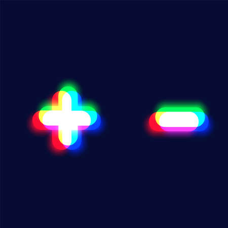 Realistic chromatic aberration character 'plus / minus' from a font, vector illustration