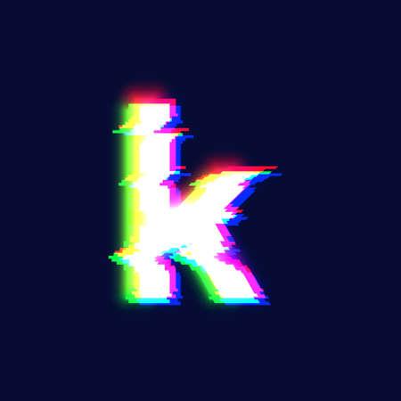 Realistic glitch font character 'k', vector illustration