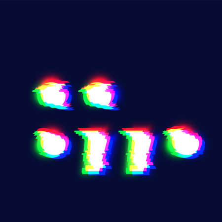 Realistic glitch font character 'colon / semicolon / comma / full stop' vector illustration
