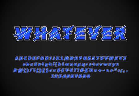 High quality abstract blue font set with white stokes, vector illustration