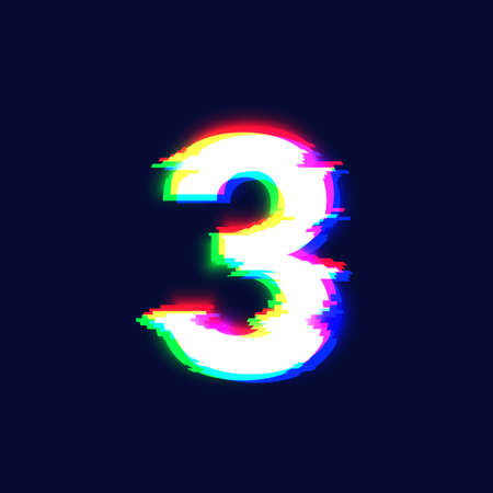 Realistic glitch font character '3' vector illustration