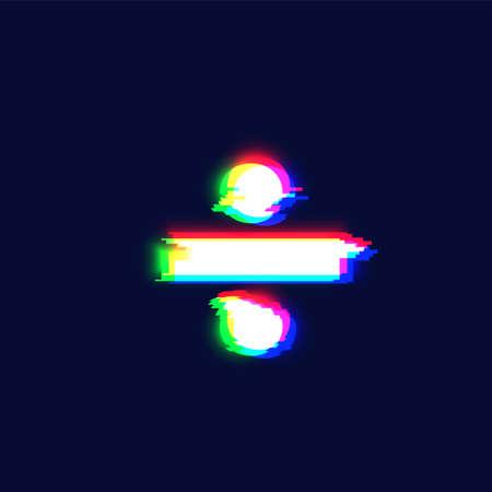 Realistic glitch font character 'obelus' vector illustration  イラスト・ベクター素材