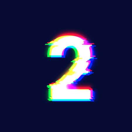 Realistic glitch font character '2' vector illustration  イラスト・ベクター素材