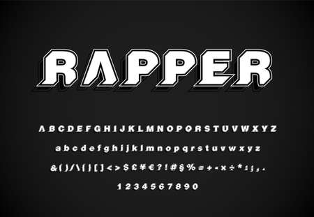 Modern, minimal and dynamic 'Rapper' font set with 45 degree angles, vector illustration