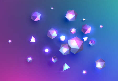 Shiny low poly spheres with triangles and glitter, vector illustration  イラスト・ベクター素材