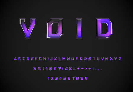 Futuristic 'Void' purple / blue font with dashed strokes and blending effects, vector illustration