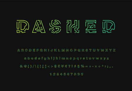 Colorful dashed stroke font set, vector illustration