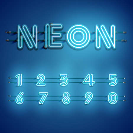 Realistic dashed neon font with shadows, glow and wires 写真素材 - 153691947