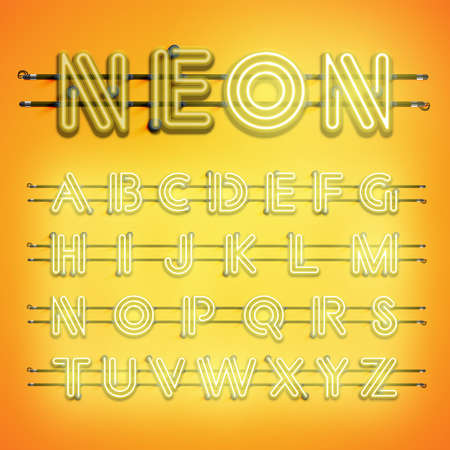 Realistic dashed neon font with shadows, glow and wires 写真素材 - 153691288