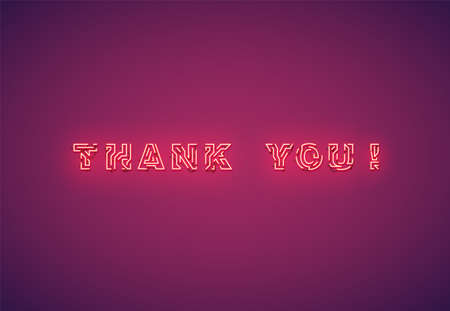 'Thank you!' text written with realistic neon font, vector illustration 写真素材 - 153691624