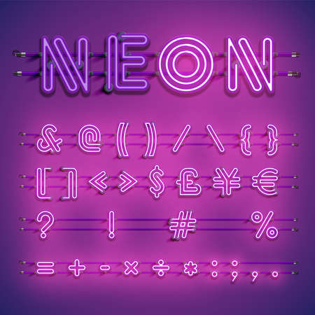 Realistic dashed neon font with shadows, glow and wires