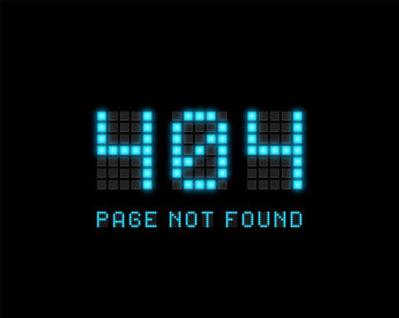 '404 PAGE NOT FOUND' text written with realistic pixel font, vector illustration