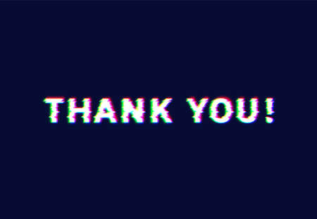 'Thank you!' text written with realistic neon font, vector illustration