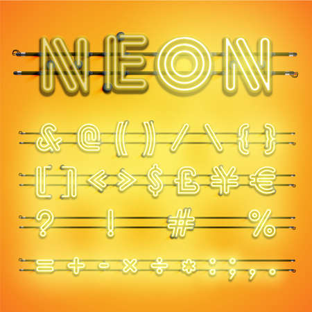 Realistic dashed neon font with shadows, glow and wires 写真素材 - 153691669