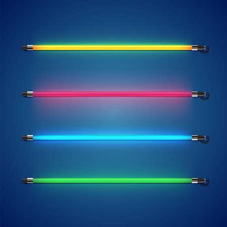 Realistic colorful neon tube set, vector illustration