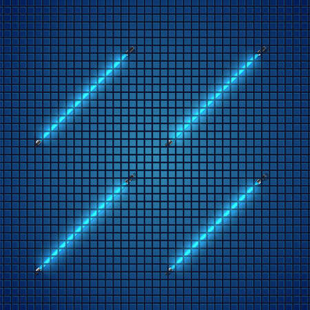 Realistic blue neon tubes behind grid, vector illustration