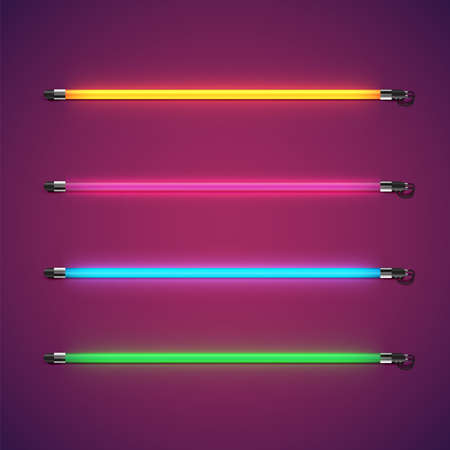 Realistic colorful neon tube set, vector illustration 写真素材 - 154595155
