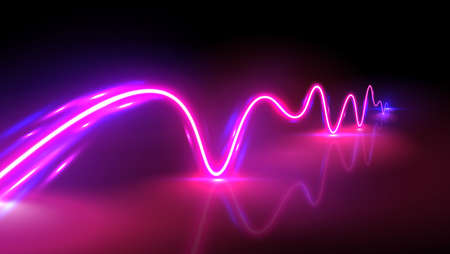 Realistic neon pink and blue wave with reflections, vector illustration