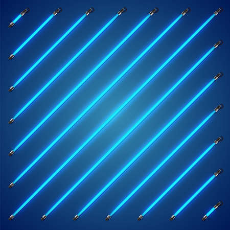 Realistic colorful neon tubes, vector illustration 写真素材 - 154595161