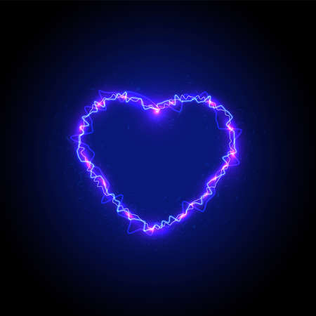 High detailed lightning heart, vector illustration  イラスト・ベクター素材