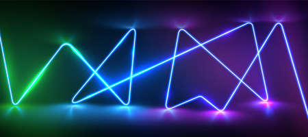 Realistic neon laser line with reflections and glow, vector illustration 矢量图像