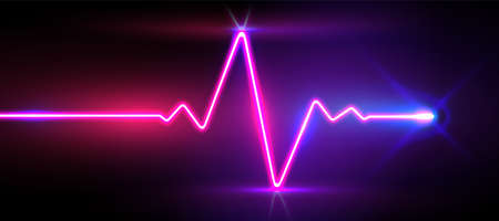 Realistic neon / laser heartrate sign with glows, vector illustration