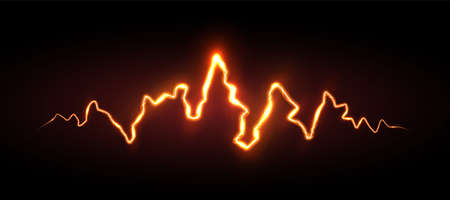 Realistic orange lightning with sparks and glow, vector illustration