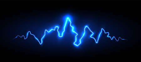 Realistic blue lightning with sparks and glow, vector illustration 矢量图像