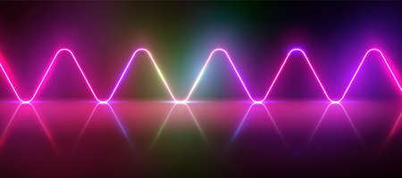 Realistic glowing neon waves pattern with glow and reflections, vector illustration