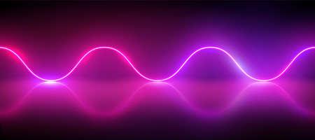 Realistic glowing neon sinus wave, vector illustration