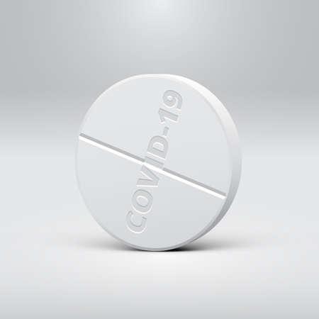 High detailed Covid-19 drug pill, vector illustration